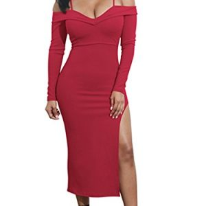 Lyheller Women's Sexy V Neck Long Sleeve Off The Shoulder Evening Bodycon Club Midi Dress (Small, Wine Red)