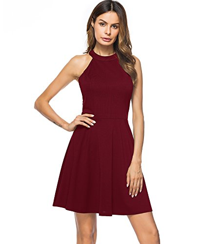 Lyrur Women's Fit and Flare Flowy Burgundy Bridesmaid Dress (XL, 9009-Burgundy)