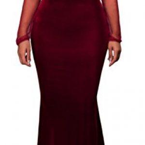 made2envy Mesh Lace Applique Velvet Evening Maxi Gown Dress (XL, Red) R80368RXL