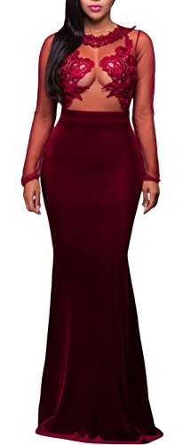 made2envy Mesh Lace Applique Velvet Evening Maxi Gown Dress (XL, Red) R80368RXL