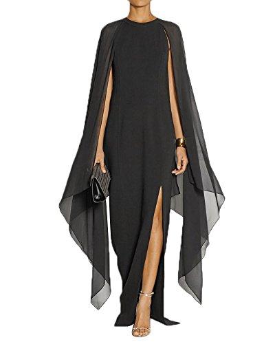 Maketina Women's Flare Chiffon Sleeve High Split Formal Evening Gown Maxi Dress with Cape Black L