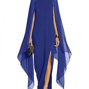 Maketina Women's Flare Chiffon Sleeve High Split Formal Evening Gown Maxi Dress with Cape Blue XL