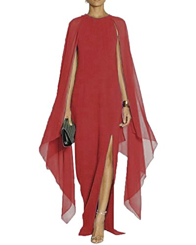 Maketina Women\'s Flare Chiffon Sleeve High Split Formal Evening Gown ...