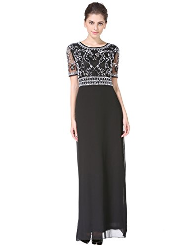 MANER Women Chiffon Beaded Embroidered Sequin Long Gowns Prom ...