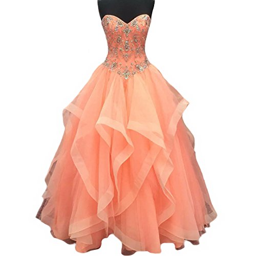 Meilishuo Women's Sweetheart Beaded Prom Ball Gowns Tulle Quinceanera Dresses with Big Ruffles