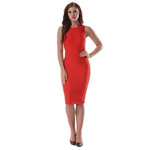 MEILIYI Sexy O-Neck Hollow out Evening Celebrity Party Bandage Dress,Red,Medium,Red,Medium