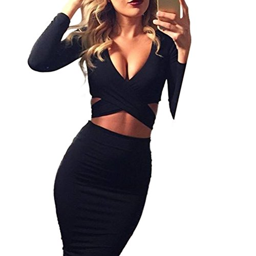 Memorose Womens Sexy Long Sleeve Cut-Out Bandage Bodycon Clubwear Midi Dress Black S