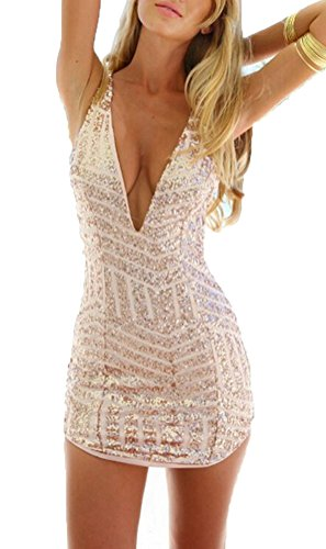 Memorose Womens Sexy V Neck Sleeveless Sequin Bodycon Halter Mini Clubwear Dress Gold S