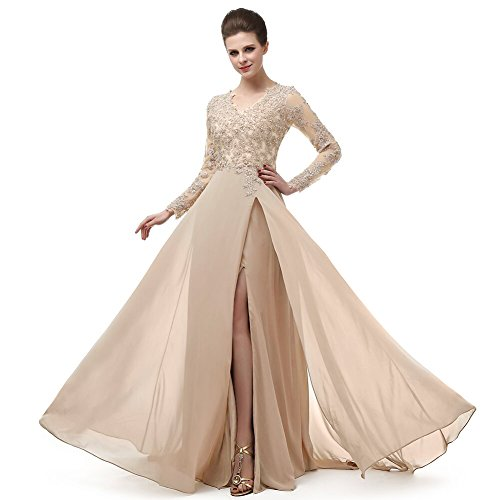 menoqo Beautiful Prom V Neckline Ruffled Skirt Long Sleeve High Waistline Cocktail Dress MNQ170406-Champagne-US14