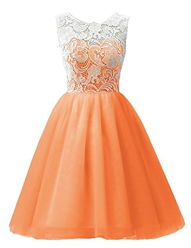 MicBridal Flower Girl / Adult Ball Gown Lace Short Prom Dress Orange Age11