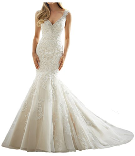 MILANO BRIDE Luxury Wedding Dress Mermaid V-neck Backless Applique Beading-8-Light Ivory