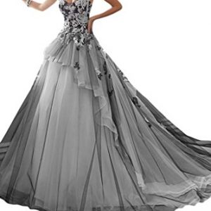 MILANO BRIDE Stunning Ball Gown Strapless Organza Applique Wedding Dress In Color-2-Black and White