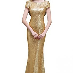 MisShow Sequins Bridesmaid Dresses Modest Long Prom Evening Gowns Gold US12