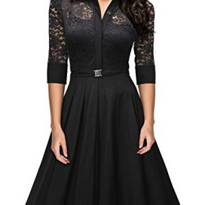 Missmay Women's Vintage 1950s Style 3/4 Sleeve Black Lace Flare A-Line Dress XXX-Large