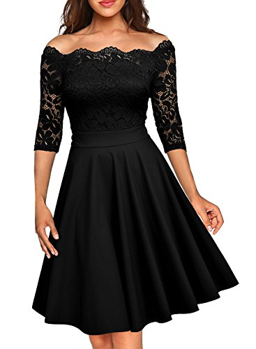 Missmay Women's Vintage Floral Lace Long Sleeve Boat Neck Cocktail Formal Swing Dress (XX-Large, D-Black)