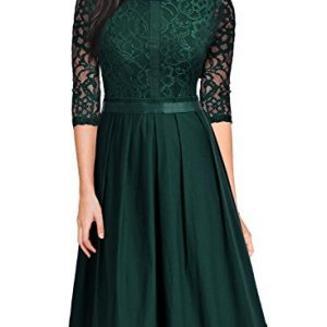 MissMay Women's Vintage Half Sleeve Floral Lace Cocktail Party Pleated Swing Dress Green Small