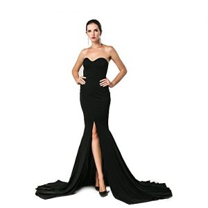 Missord Strapless Asymmetric Slit Front wedding evening party Maxi Dress Small Black