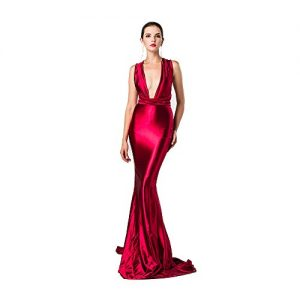 Missord Women Sexy V Neck Sleeveless Long Halter Party Dress Red Medium