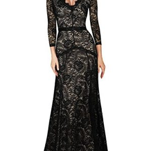 Miusol Women's Floral Lace 2/3 Sleeves Long Bridesmaid Maxi Dress, Black, Small