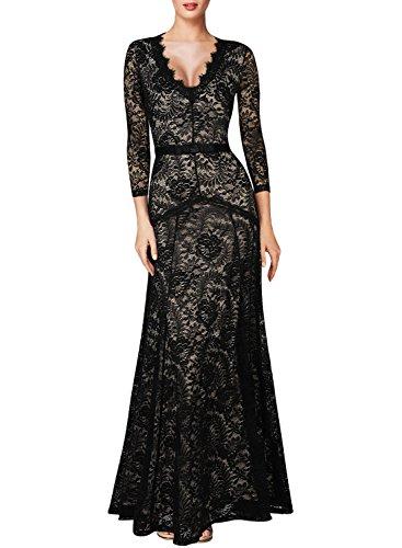 Miusol Women's Floral Lace 2/3 Sleeves Long Bridesmaid Maxi Dress, Black, Small