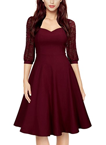 MIUSOL Women's Vintage Square Neck Floral Lace 2/3 Sleeve Cocktail Swing Dress