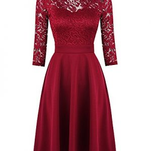 Mixfeer Women's Vintage Floral Lace Cocktail Swing Dress With 3/4 Sleeve