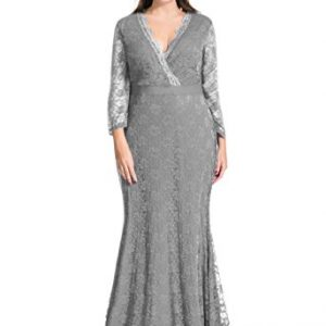 myfeel Women Plus Size Maxi length Sleeves Lace Dress Event Gowns (5X, Grey)