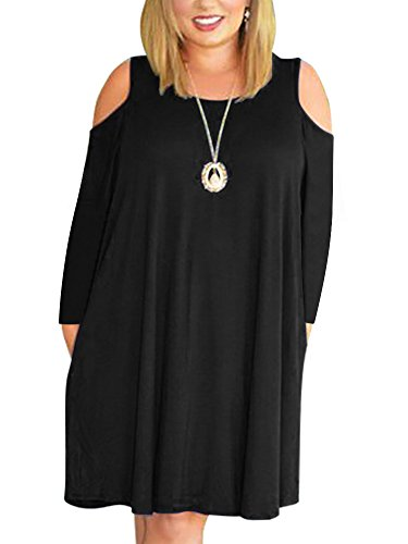 Nemidor Women's Cold Shoulder Plus Size Casual T-shirt Swing Dress With Pockets (16W, Black+Sleeve)