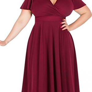 Nemidor Women's V-neckline Stretchy Casual Midi Plus Size Bridesmaid Dress (22W, Wine Red)