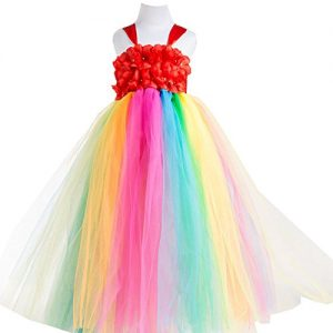New Flower Girl Rainbow Tulle Dress Skirt Frilly Flower Dance Tutu Prom Robe Ball Gown Long