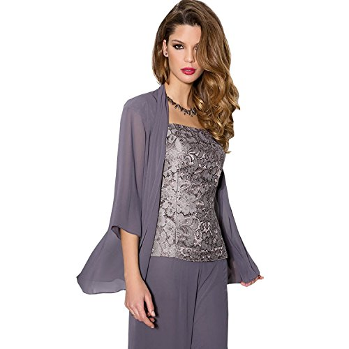 Newdeve Purple Chiffon Lace 3 Pieces Mother of the Bride Pantsuits Dress with Jacket (8)