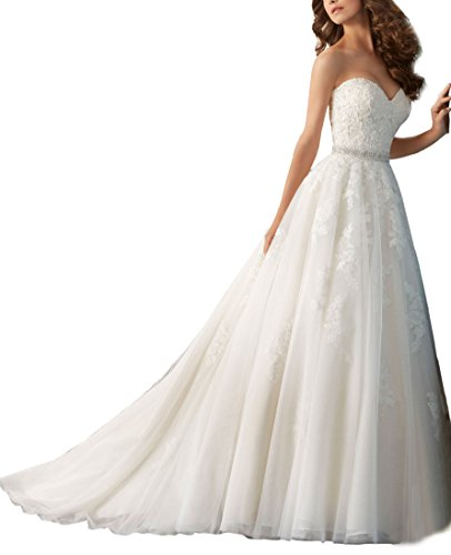 Nicefashion Women's Modest Strapless Empire Lace Bridal Wedding Dresses With Long Bowknot Ivory US10