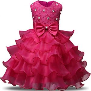 NNJXD Girl Dress Kids Ruffles Lace Party Wedding Dresses Size 4-5 Years Rose(120)