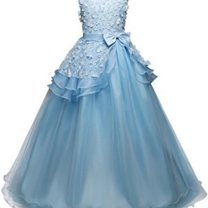 NNJXD Girl Sleeveless Embroidery Princess Pageant Dresses Prom Ball Gown Size (170) 13-14 Years Blue
