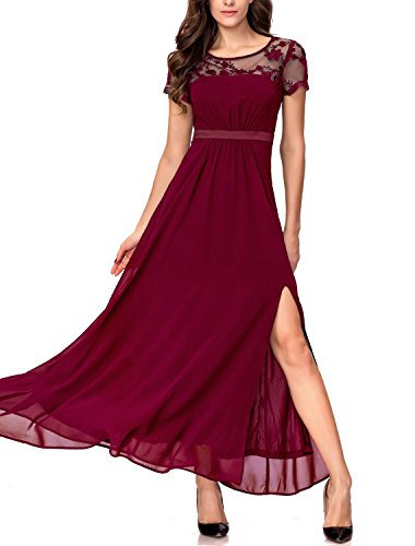 Noctflos Women's Formal Split Empire Waist Evening Wedding Party Maxi Dress