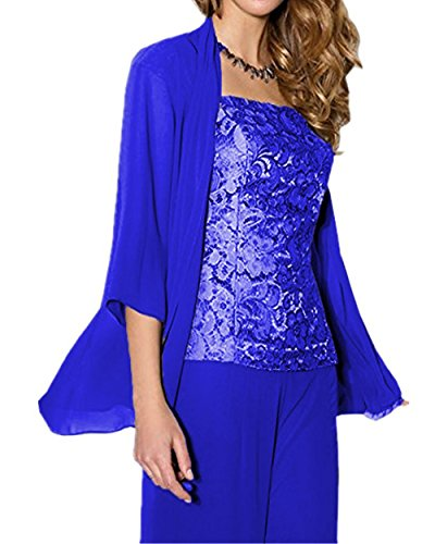 Onlinedress Chiffon 3 Pieces Mother of the Bride Dress With Pants Suits Jacket 18 Royal Blue
