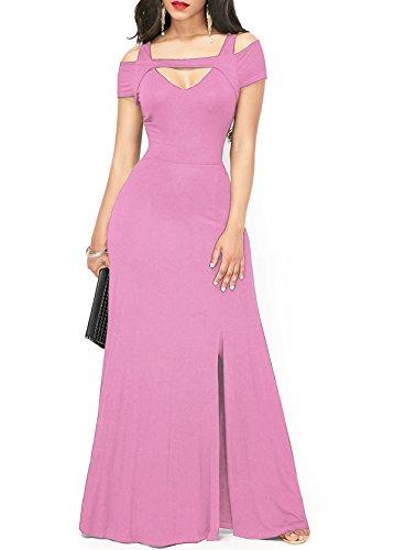 ONLYSHE Women's Summer Casual A Line Long Dress Short Sleeve Maxi Dress Pink XX-Large