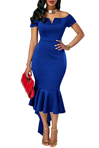 Ouregrace Womens Fishtail Long Evening Dress Off Shoulder Party Dress ((US 8-10) M, Blue)