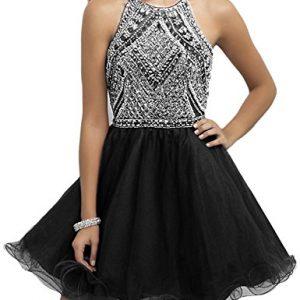 OYISHA Womens Backless Beaded Prom Dress 2016 Homecoming Dresses Short 79HC Black 8