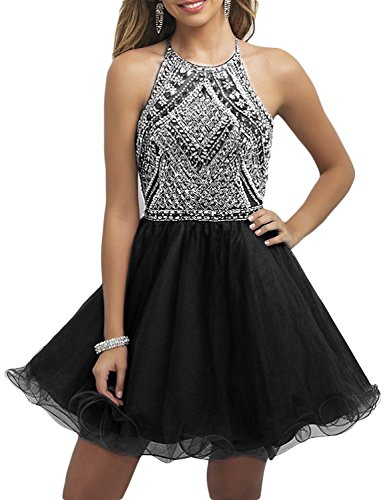 OYISHA Womens Backless Beaded Prom Dress 2016 Homecoming Dresses Short 79HC Black 8