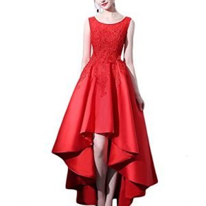 OYISHA Womens Round High Low Beaded Prom Dress Long Cocktail Formal Gowns 43PM Red 2