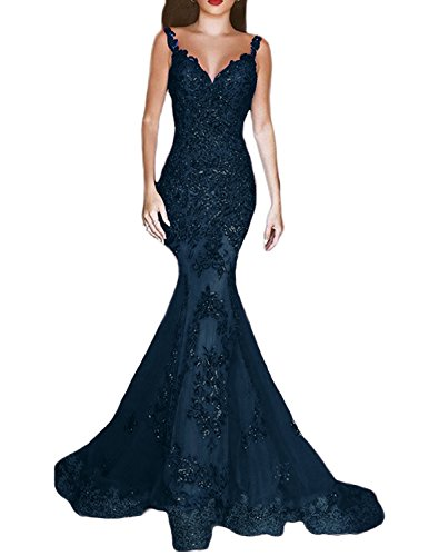 OYISHA Womens Sequins Mermaid Evening Dresses V-neck Long Sexy Prom Gowns EV44 Navy Blue 8