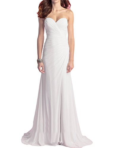 OYISHA Women's Strapless Beach Wedding Dresses Chiffon Slit Bridal Gown WD009 Ivory 6