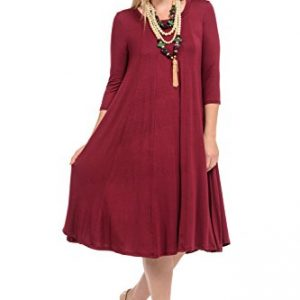 Pastel by Vivienne Women's A-Line Trapeze Midi Dress Plus Size XXX-Large Burgundy