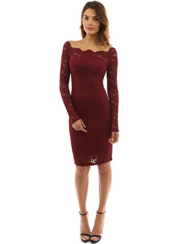 140321785fe PattyBoutik Women's Off Shoulder Twin Set Floral Lace Dress (Burgundy M)  (Product) Red | Best Selling Dresses at Izidress.com