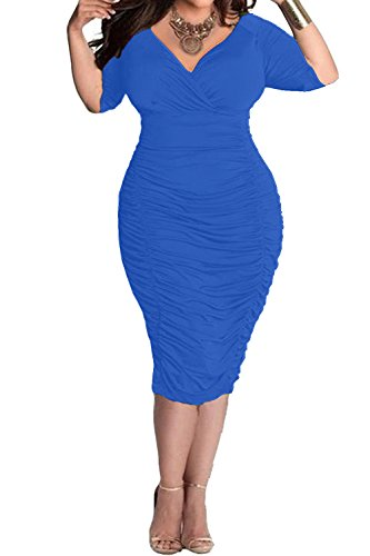 POSESHE Womens Plus Size Deep V Neck Wrap Ruched Waisted Bodycon Dress (XXL, Blue)