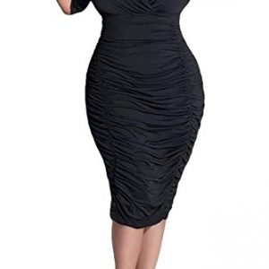 POSESHE Women's Plus Size Rumor Ruched Dress, X-Large, Black