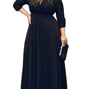 POSESHE Women's Solid V-Neck 3/4 Sleeve Plus Size Evening Party Maxi Dress Black XXXL
