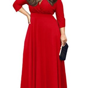 POSESHE Women's Solid V-Neck 3/4 Sleeve Plus Size Evening Party Maxi Dress Red XL