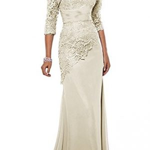 Pretygirl Women's Lace Long Mother of the Bride Dress with Jacket Formal Evening Gowns (US 18W, Ivory)